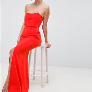 1 left! NWT formal corset strapless gown with slit